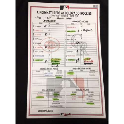 Game-Used Dugout Lineup Card - 7/3/17 - CIN vs. COL - Joey Votto's 1500th Career Hit (HR #24 of 2017)