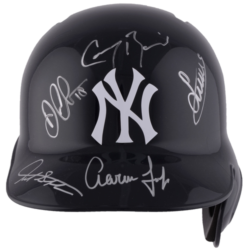Photo of Aaron Judge, Giancarlo Stanton, Didi Gregorius, Luis Severino and Greg Bird New York Yankees Autographed Replica Batting Helmet