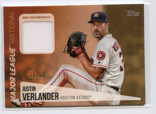Photo of 2019 Topps Major League Materials Gold #MLMJV Justin Verlander 38/50