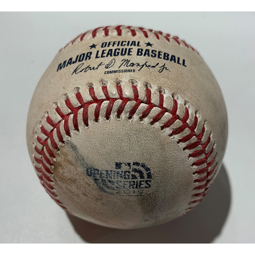 Photo of 2019 Japan Opening Day Series - Game Used Baseball - Batter: Khris Davis, Pitcher : Corey Gearrin - Swinging Strike - 3/20/19