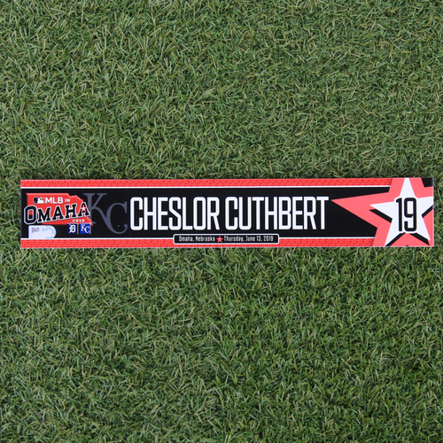 Game-Used Locker Tag: MLB in Omaha - Cheslor Cuthbert (DET @ KC - 6/13/19)