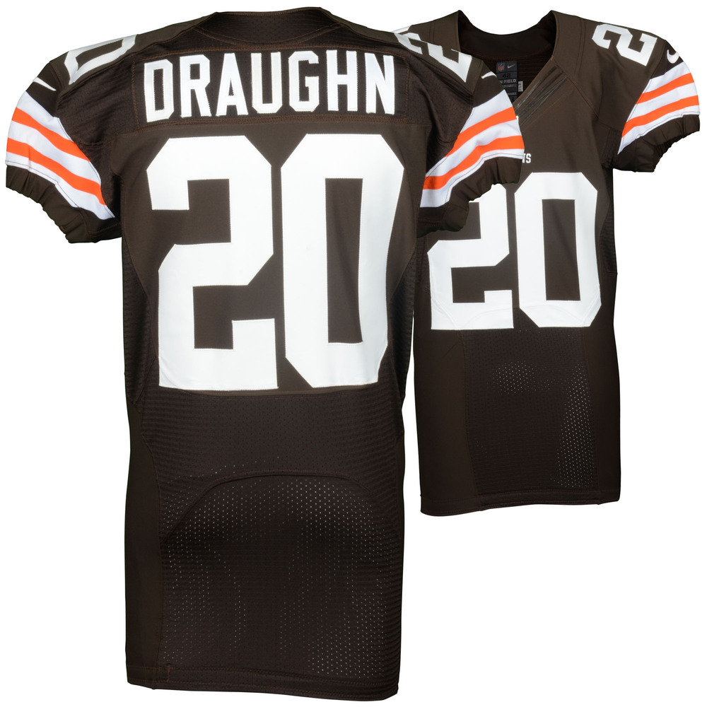 Shuan Draughn Cleveland Browns Team Issued Brown #20 Jersey from the 2014 Season