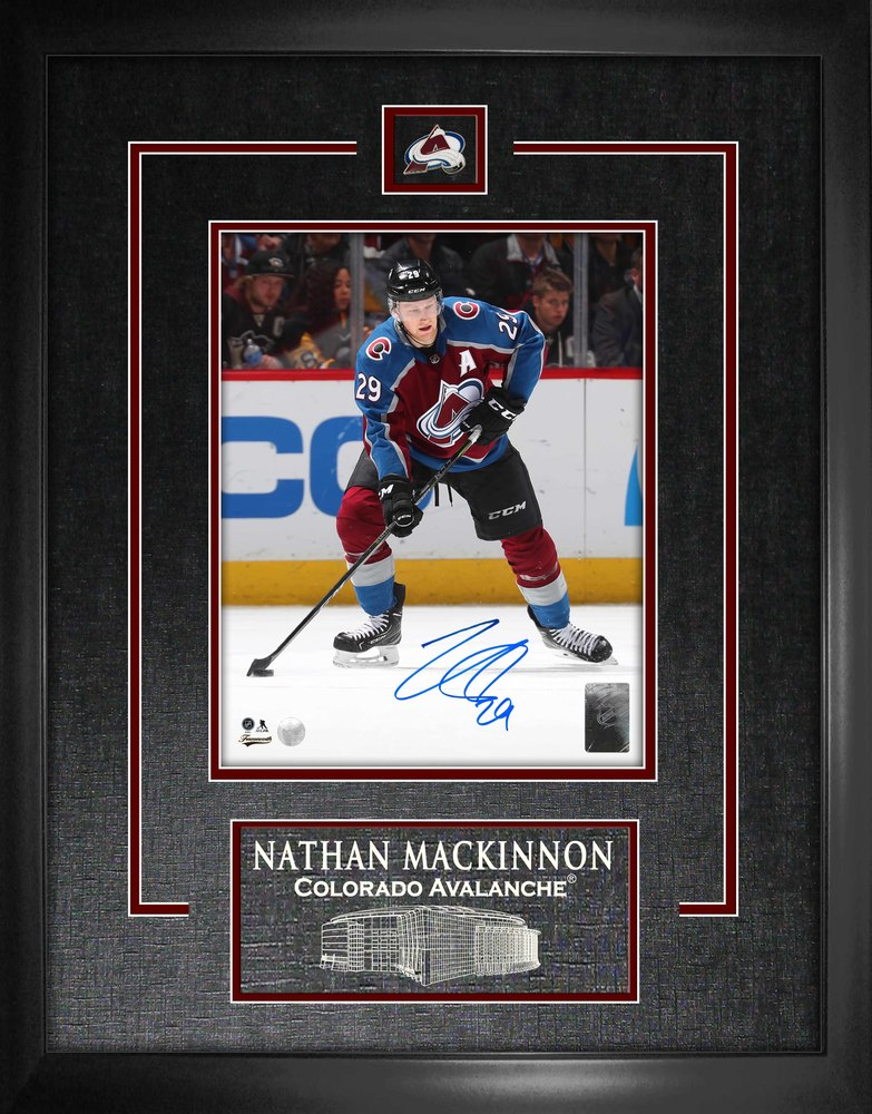 Nathan Mackinnon - Signed 8x10 Etched Mat Avalanche Action