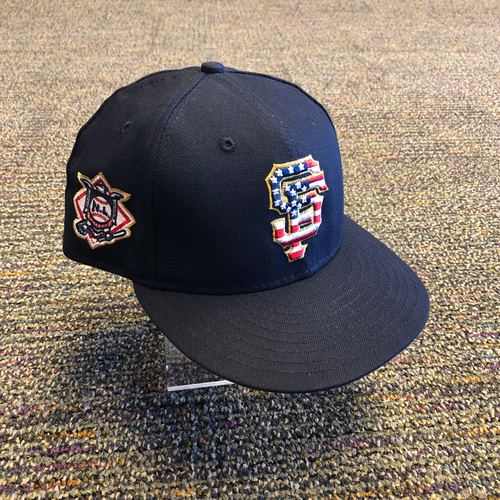 Photo of San Francisco Giants - 2018 Game-Used 4th of July Cap worn by #88 Eli Whiteside - Size 7 1/4