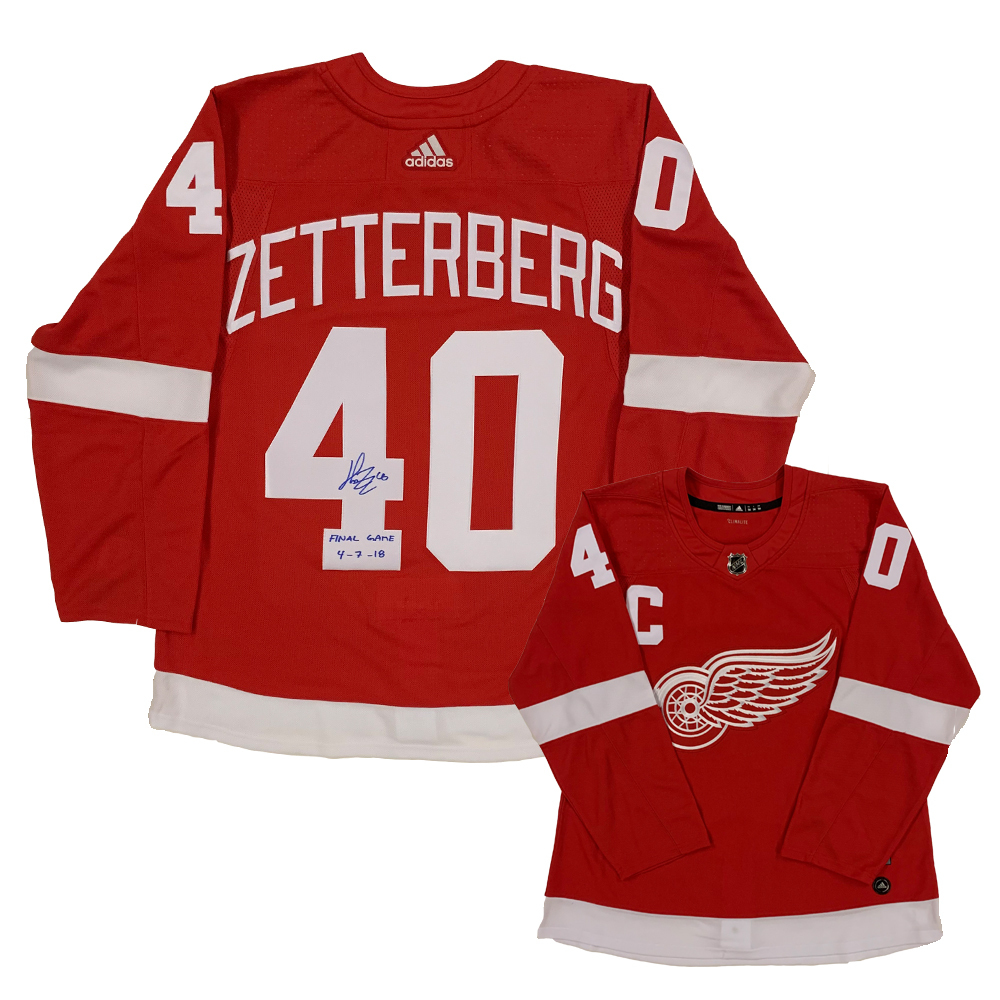 Henrik Zetterberg Signed Detroit Red Wings Red Adidas Jersey with