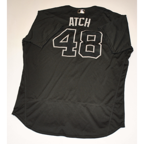 "Photo of Scott ""ATCH"" Atchison Cleveland Indians Game-Used 2019 Players' Weekend Jersey"