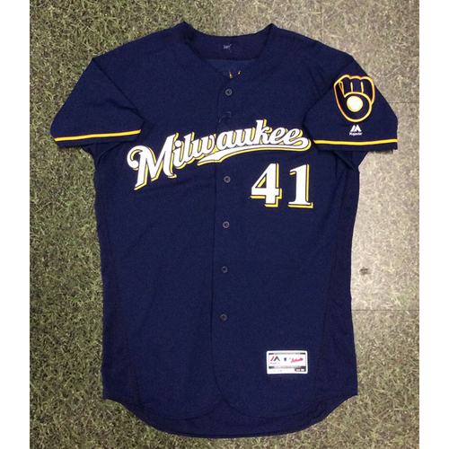 Photo of Junior Guerra 2017 Game-Used Navy Ball & Glove Jersey