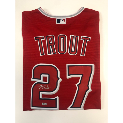 Photo of Mike Trout Autographed Replica Red Angels Jersey