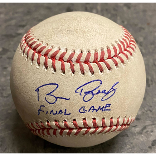 "Photo of 2019 Game Ready & Autographed Inscribed Baseball - Game Ready Baseball from 9/29 vs. Los Angeles Dodgers - Autographed & Inscribed ""Bruce Bochy Final Game"""