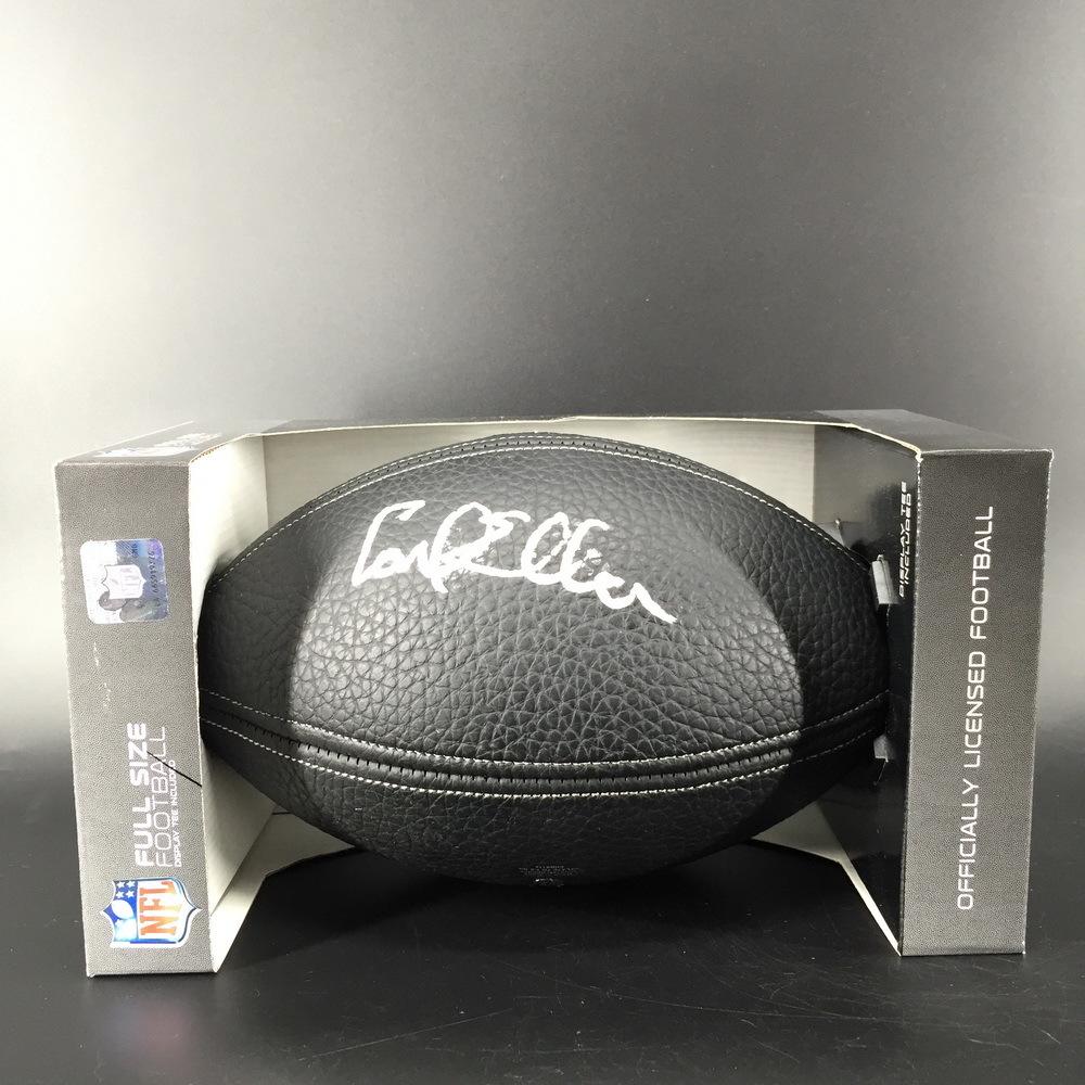 HOF - Vikings Carl Eller Signed NFL Auction Exclusive Black Commemorative HOF Football with 100 Seasons Logo