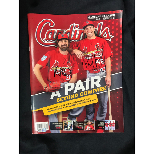 Photo of Paul Goldschmidt and Andrew Miller Autographed Cardinals GameDay Magazine