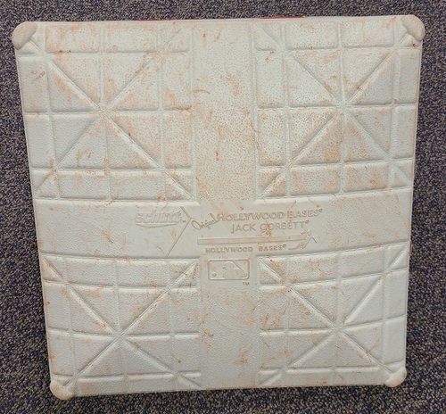 Photo of Authenticated Game Used Base: 2nd Base for Innings 1 to 3 and 7 to 9 (Jun 28 to Jul 1, 19 vs KCR). Canada Day Weekend Base. In Place for Guerrero Jr's 8th Career HR.