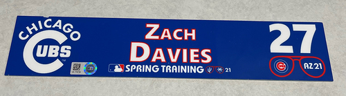 Photo of Zach Davies 2021 Spring Training Locker Nameplate