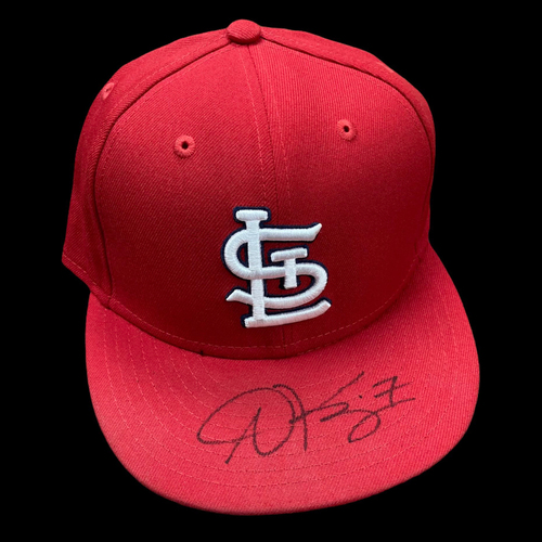 Photo of Andrew Knizner Autographed Game Used Home Cap (7/25/2020, PIT @ STL) (Size 7 3/8)