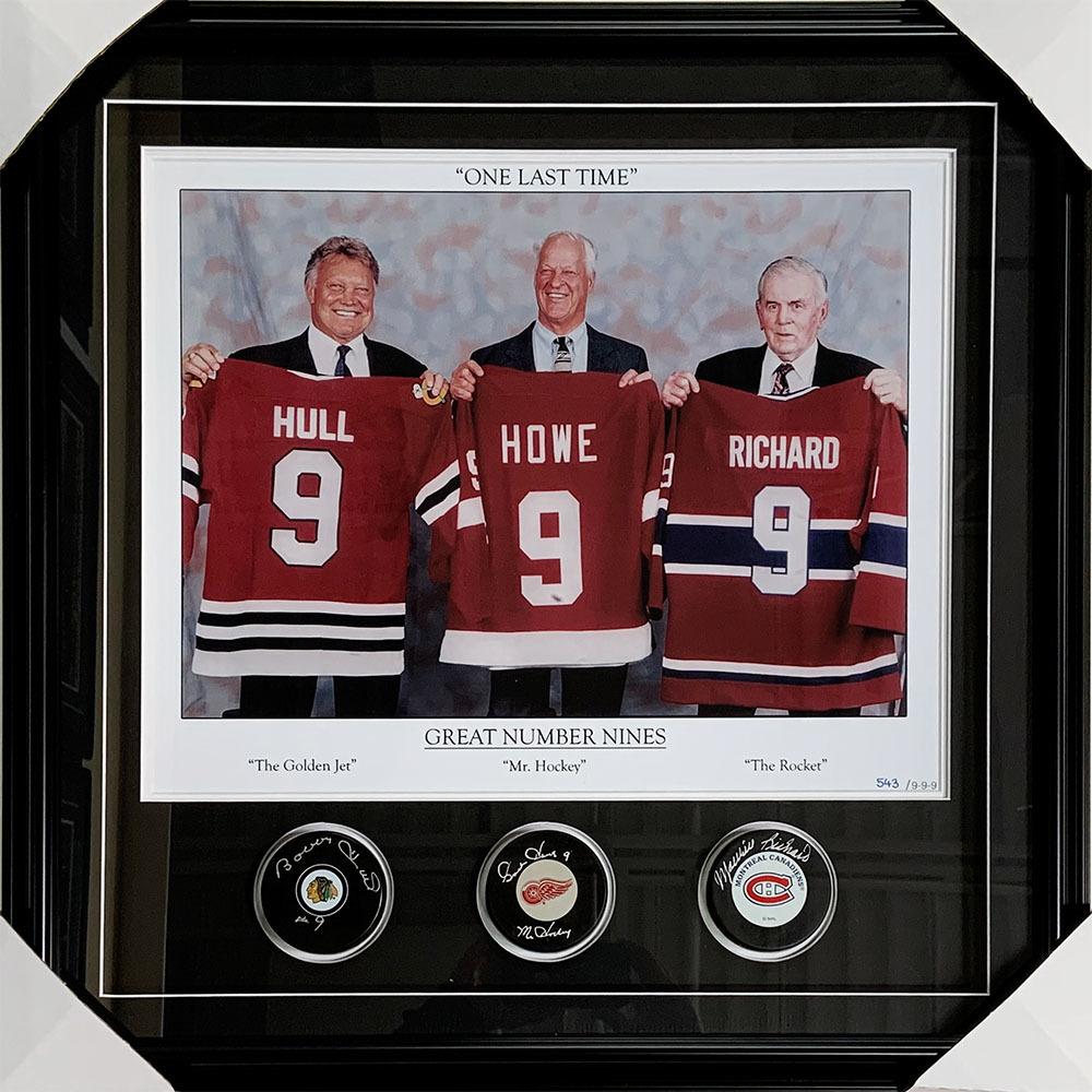 Great Nines Autographed Framed Display - Gordie Howe, Bobby Hull ...