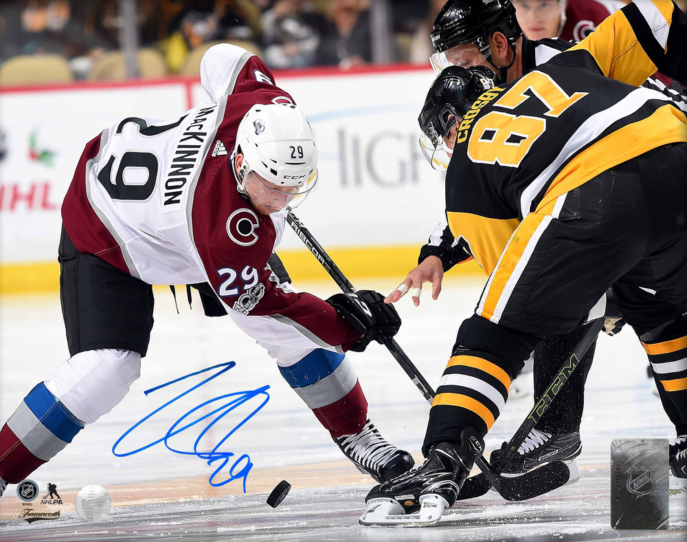 Nathan Mackinnon - Signed 8x10 Unframed Avalanche vs Crosby
