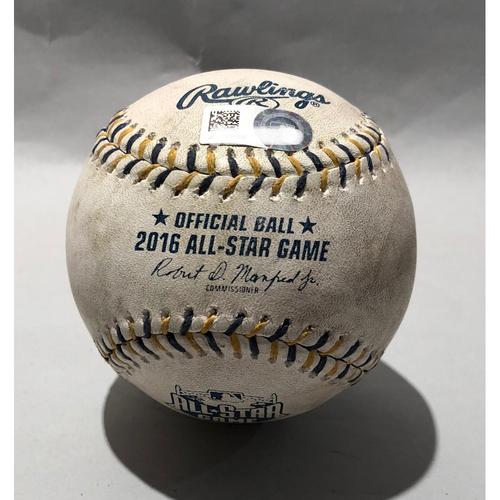 Photo of 2016 All Star Game-Used Baseball - Pitcher: Zach Britton, Batter Daniel Murphy (Single)