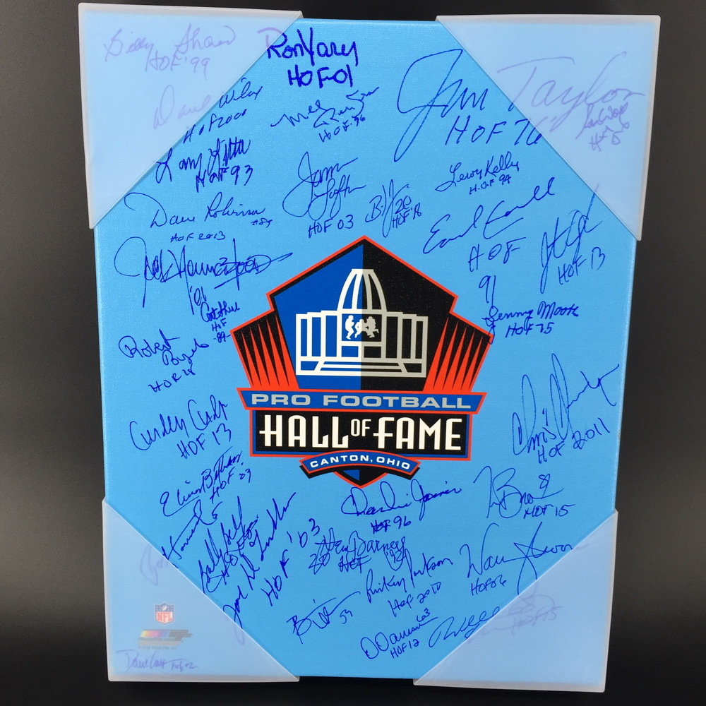 HOF - Hall of Fame Multi Signed 11x14 Canvas W/ More than 30 Signatures (Including Brian Dawkins, Jim Taylor, Warren Moon)