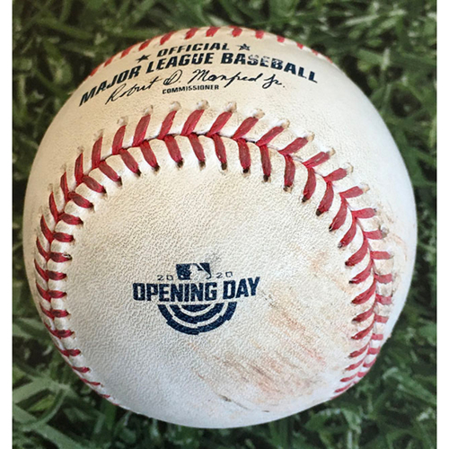 Photo of Game-Used Home Opener Baseball CHW@MIL 08/03/20 - Corbin Burnes - Yoan Moncada: Strikeout