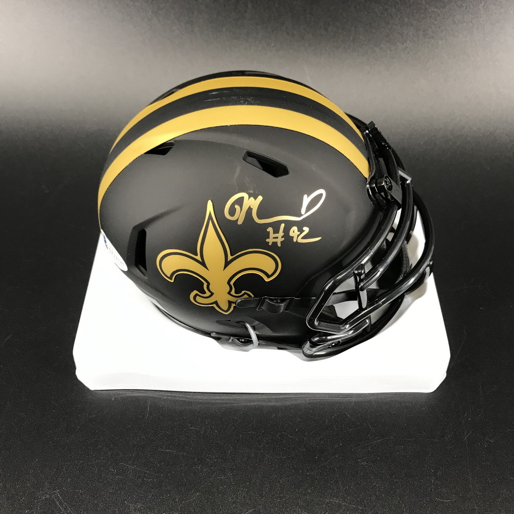 PCC - Saints Marcus Davenport Signed Eclipse Mini-Helmet (benefitting the Marty Lyons Foundation)