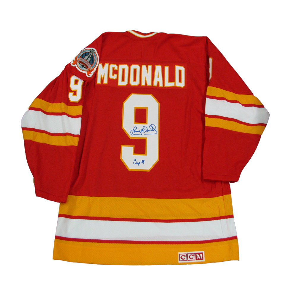 LANNY MCDONALD Signed Calgary Flames Red CCM Jersey  Inscribed