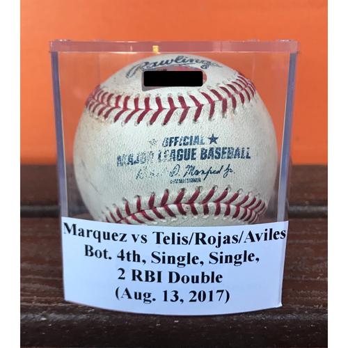 Game-Used Baseball: Telis -Single, Rojas - Single, Aviles - 2 RBI Double