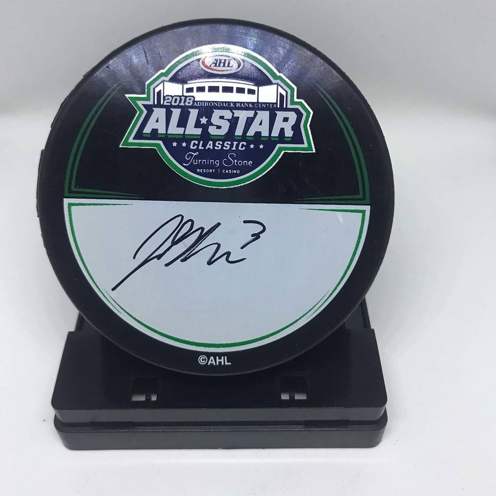 2018 AHL All-Star Classic Souvenir Puck Signed by #3 John Gilmour
