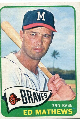 Photo of 1965 Topps #500 Eddie Mathews -- Hall of Fame Class of 1978