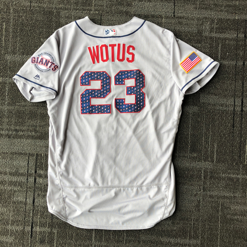Photo of San Francisco Giants - 2018 Game-Used Stars & Stripes Jersey worn by #23 Ron Wotus - Size 48