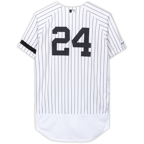 Photo of Gary Sanchez New York Yankees Game-Used #24 White Pinstripe Jersey vs. Cleveland Indians on August 18, 2019