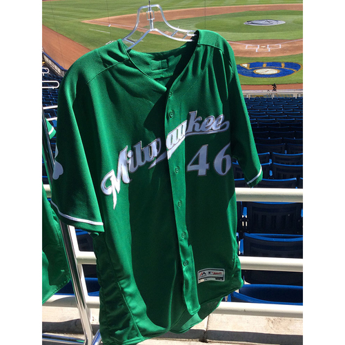 Photo of Corey Knebel 2018 Team-Issued St. Patrick's Day Jersey