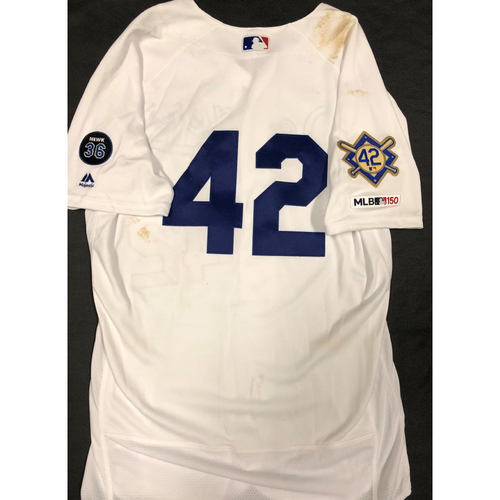 Photo of 2019 Game Used Home #42 Jersey worn by #14 IF/OF Enrique Hernandez on 4/15 Jackie Robinson Day against Cin. 4 AB. Dodgers 4-3 victory against Cincinnati. - Size 44