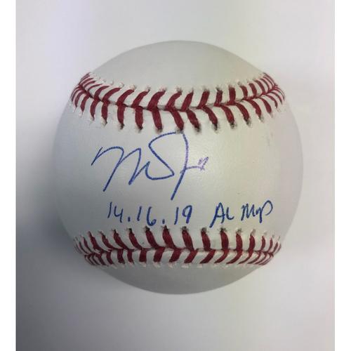 "Photo of Mike Trout ""14,16,19 AL MVP"" Autographed Baseball"