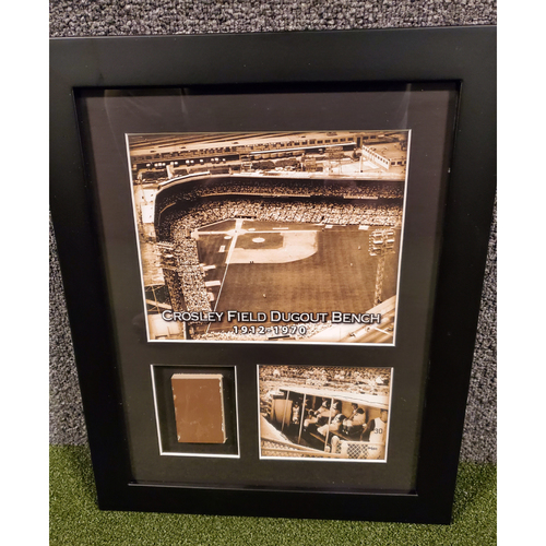 Photo of Framed Piece of Crosley Field Dugout Bench (Number 20 of 150)