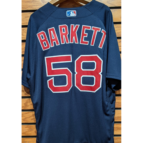 Photo of Coach Andy Barkett #58 Team Issued Navy Road Alternate Jersey