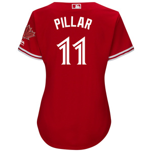 Toronto Blue Jays Women's Cool Base Replica Kevin Pillar Alternate Red Jersey by Majestic
