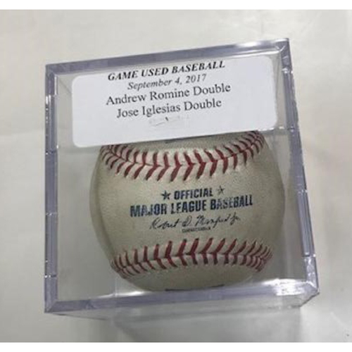 Photo of Game-Used Baseball: Andrew Romine and Jose Iglesias Double