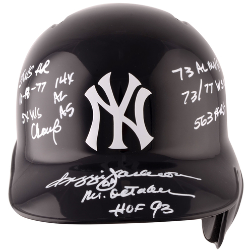 Photo of Reggie Jackson New York Yankees Autographed Replica Batting Helmet with Multiple Inscriptions - L. E. of 44