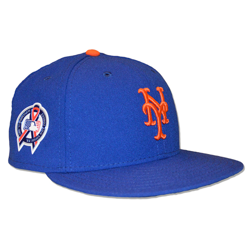 Photo of Brandon Nimmo #9 - Game Used Blue Hat - 9/11 Remembrance Patch - Mets vs. Marlins - 9/11/18