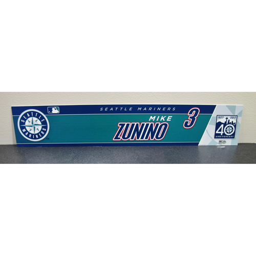Photo of Seattle Mariners Mike Zunino Team-Issued 2017 40th Anniversary Locker Name Plate