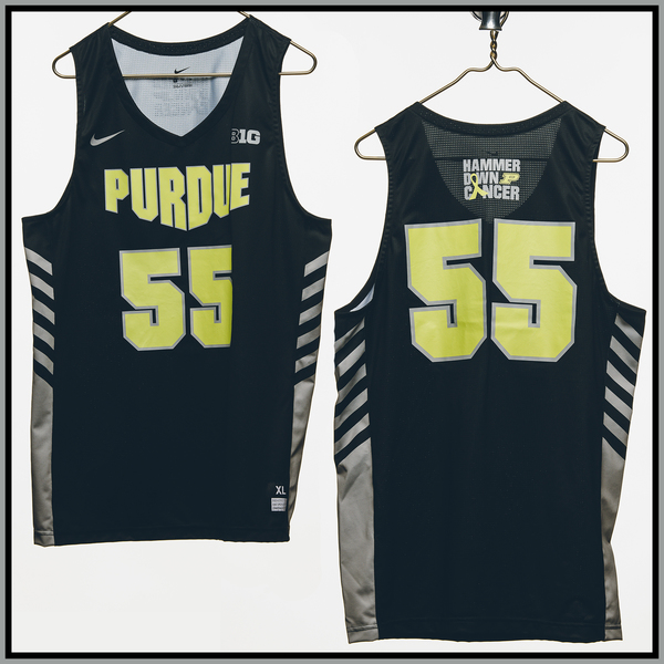 Photo of Purdue Basketball #55 Hammer Down Cancer Jersey, Worn By Sasha Stefanovic