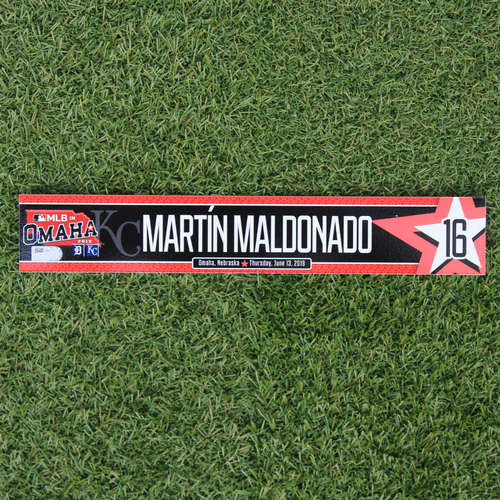 Photo of Game-Used Locker Tag: MLB in Omaha - Martin Maldonado (DET @ KC - 6/13/19)