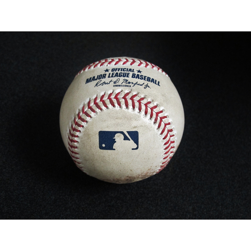 Photo of Seattle Mariners Game-Used Baseball: Pitcher - Tommy Milone, Batter - Aaron Judge - Single - Top 2, 8/26/19 (NYY)