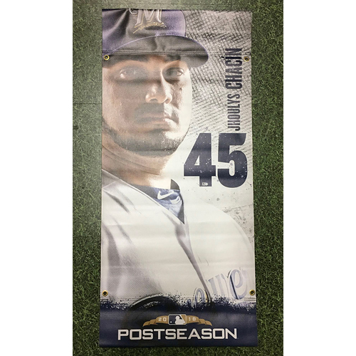 Photo of Jhoulys Chacin 2018 Team-Issued Postseason Plaza Banner