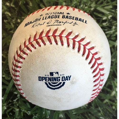 Photo of Game-Used Home Opener Baseball CHW@MIL 08/03/20 - Corbin Burnes - Luis Robert: Ball 4, Walk (3rd Career Walk)