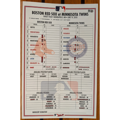 Photo of June 19, 2018 Boston Red Sox at Minnesota Twins Game Used Lineup Card - Twins Win 6 to 2