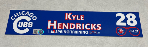 Photo of Kyle Hendricks 2021 Spring Training Locker Nameplate
