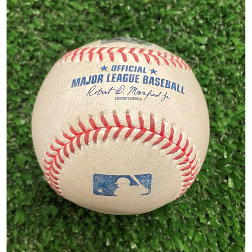Photo of Game Used Baseball - Pitcher: Freddy Peralta, Batter: Freddie Freeman (Ground out) - 10/11/21 - NLDS Game 3