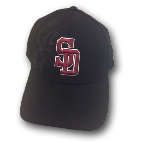 Photo of Ryne Sandberg Game-Used and Autographed Marjory Stoneman Douglas High School Style Hat -- Rangers vs. Cubs - 2/24/18