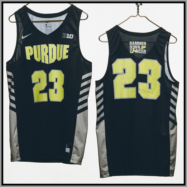 Photo of Purdue Basketball #23 Hammer Down Cancer Jersey, Worn By Kyle King